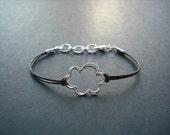 Cloud Silver Bracelet, Dark Brown Leather Bracelet
