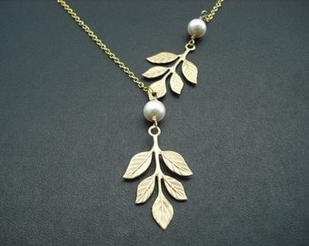 golden branch and pearl necklace - 16K gold plated chain