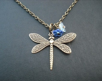 dragonfly necklace - antique brass