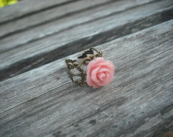 pink rose ring - antique brass
