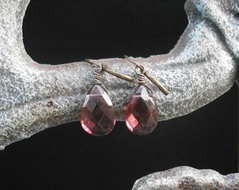 amethyst  faceted briolettes earrings - 11 different colors to choose from