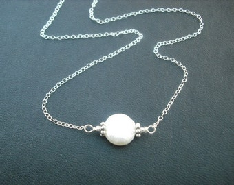June Birthstone Necklace, Pearl Necklace, Freshwater Coin Pearl Necklace
