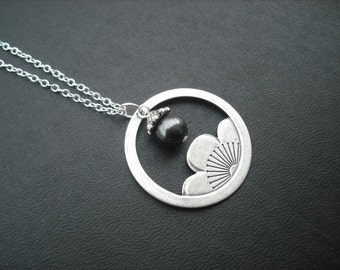 Antique Silver Necklace, Lotus Flower Necklace - silver brass