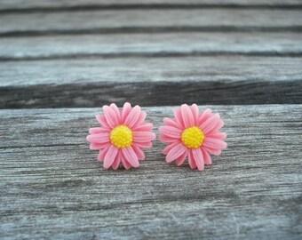 pink sunflower post earring