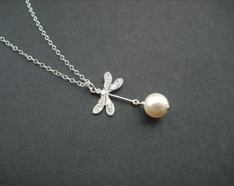 Bridesmaid Gift, Bridesmaid Necklace, Dragon Fly Necklace - Sterling Silver Chain, Wedding Gift, Birthday Gift, Flower Girl Necklace