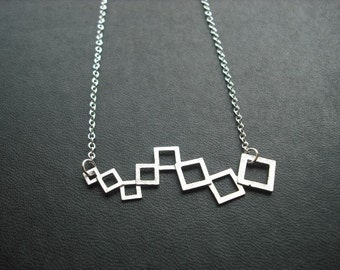 matte modern linked squares necklace