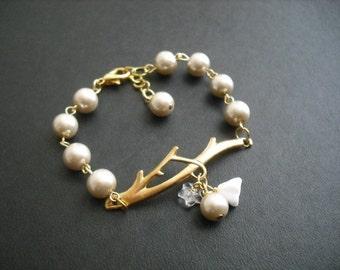 Bridesmaid Gift, Bridesmaid Bracelet, Bare Branch Beige Bracelet