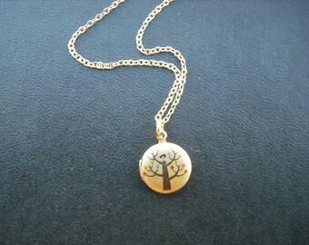 bird on a tree mini locket necklace - 14k gold filled