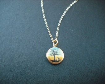 mini summertime tree locket necklace - 14K gold filled
