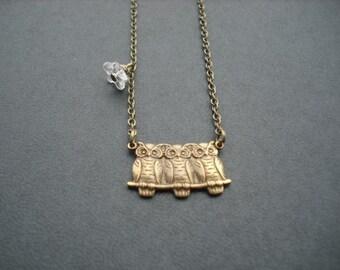 three baby owls necklace - antique brass