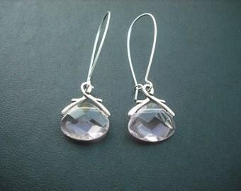 Silver Earrings, Crystal Glass Briolette Earring - Light Pink, Bridesmaid Earrings, Bridesmaid Gift, Wedding Gift, Birthday Gift