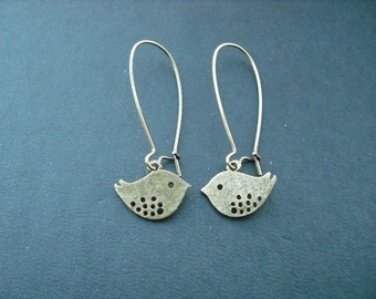 love birds earrings - antique brass