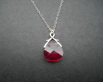 Ruby Necklace, July Birthstone Necklace, Silver Necklace with ruby swarovski crystal briolette