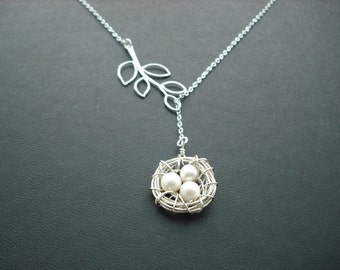 little nest lariat - sterling silver and white gold plated
