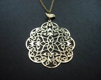 filigree with bird necklace - 16K yellow gold plated