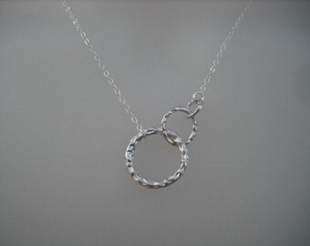 Bridesmaid Necklace, Silver Necklace with three ring pendant