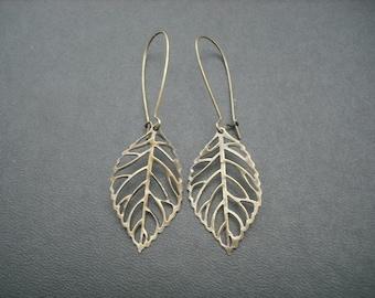 Bridesmaid Earrings, Skeleton Leaf Earrings - antique brass