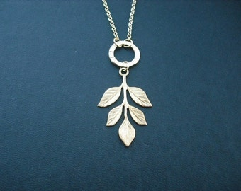 leaf necklace - 16k yellow gold plated chain