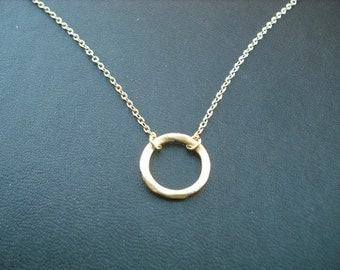 matte yellow gold hoop pendant necklace