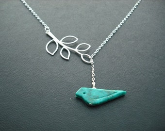 Bridesmaids gift, Wedding Gift, genuine turquoise bird lariat - matte white gold plated