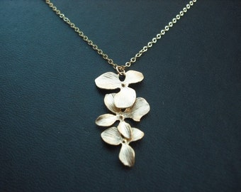 Bridesmaid necklace,  16K yellow gold plated necklace with triple orchid flowers
