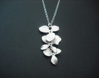 Bridesmaid Necklace, Silver Necklace with Triple Orchid Flowers