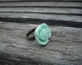 mint green flower cabochon ring - antique brass