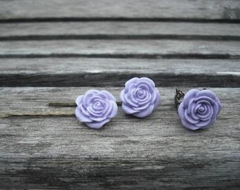 lavender rose flower bobby pin and ring set - antique brass metal