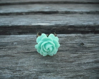 mint green rose flower ring - antique brass