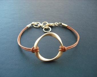 Bridesmaid Bracelet , Matte Gold Twisted Hoop Bracelet