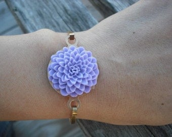 Light Purple Mum Hinge Cuff Bangle Bracelet