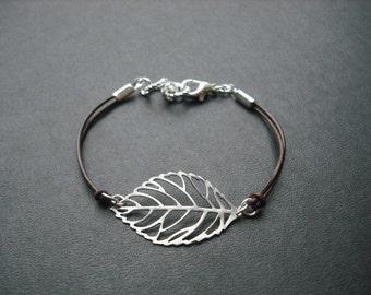 Bridesmaid Bracelet, Silver Bracelet with Skeleton Leaf