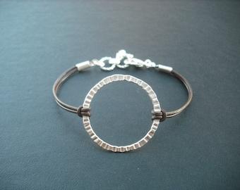 matte white gold crinkled hoop bracelet