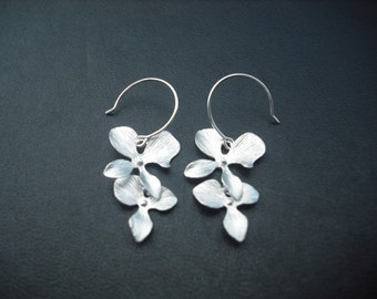 orchid flower cascading earring - white gold plated and sterling silver earwire