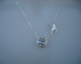 come with me - sterling silver necklace - new version - misty blue freshwater pearls