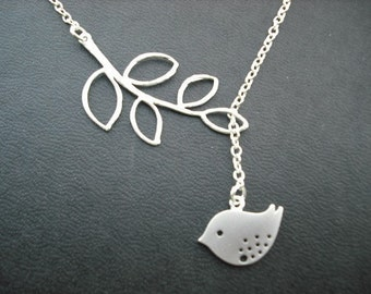 Bridesmaid Lariat, Silver Lariat with Sweet Little Mod Bird, Five Leaf Branch