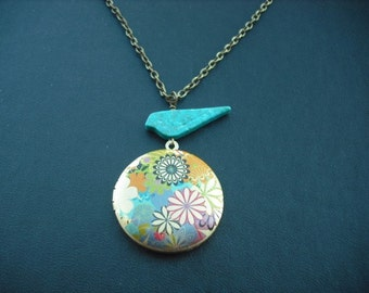 spring flowers locket with antique brass chain necklace