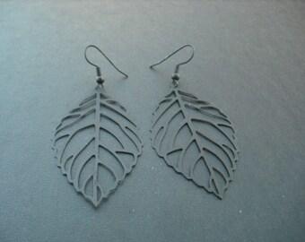 matte black skeleton leaf earring