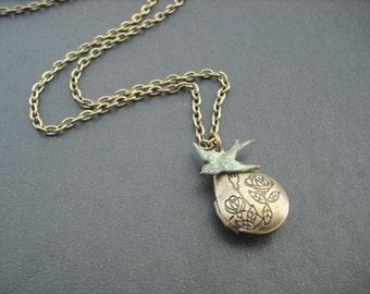 Locket Necklace, Antique Brass Water Drop Locket Necklace with blue verdigris patina bird
