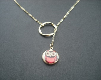 red whimsical owl mini locket lariat - 16K gold plated chain