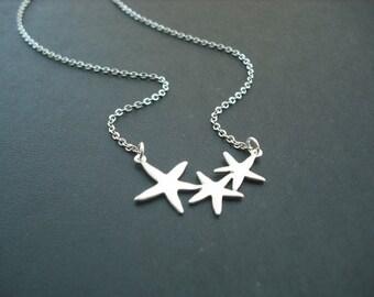 Adorable Triple Starfish necklace - Bridesmaids gift, Wedding Gift