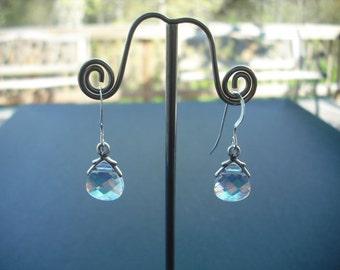 clear ab swarovski crystal briolette earrings - sterling silver ear wires