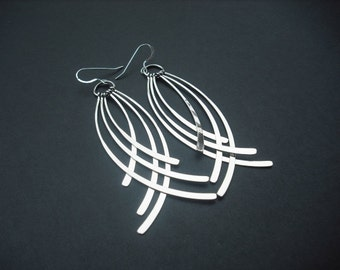 Silver Earrings with Long Curved Line Tassel - version 2