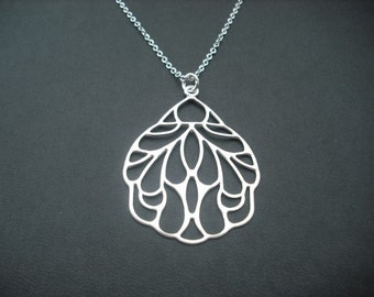 Art Nouveau Style Wing Pendant Necklace - white gold plated chain