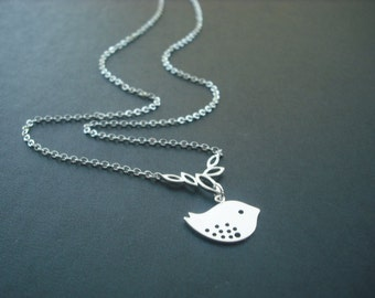 cute little mod bird with multi marquise necklace- matte white gold plated
