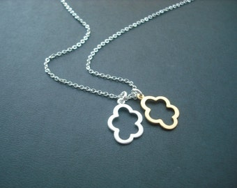 Silver and Gold Necklace, double hollow center simplicity cloud pendant necklace