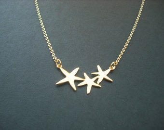 Bridesmaids Gift, Wedding Gift, 16K Gold Plated Adorable Triple Starfish Necklace