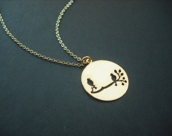 16K Gold Plated Necklace withTwo Birds On the Branch Cut Out Round Disk Pendant