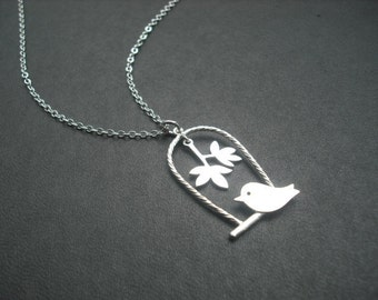 Bridesmaid Necklace, Silver necklace, Love bird on the swing Pendant necklace