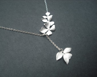 matte fourfold wild orchid flowers lariat - white gold plated